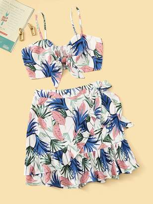 Shein Plus Knot Leaf Print Shirred Top With Tiered Layer Wrap Skirt