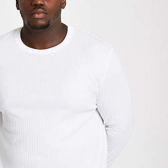 River Island Big and Tall white ribbed crew neck T-shirt