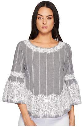 CeCe Bell Sleeve Blouse w/ Lace Trim Women's Blouse