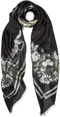 Coleman Louise Egret Cameo Silk Modal Scarf