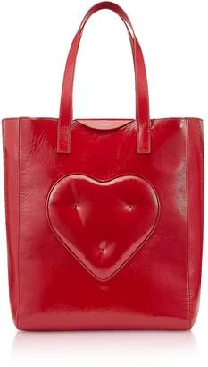 34673e6b61 at Italist · Anya Hindmarch Dark Red Naplak Chubby Heart Tote Bag
