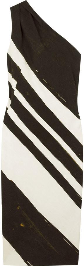 Graeme Black Bushstroke print asymmetric dress
