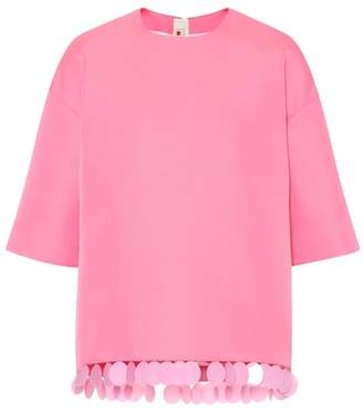 Marni Sequin-trimmed crêpe top