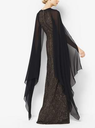 Michael Kors Sequined Cape Gown