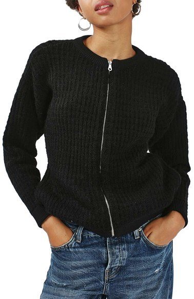 Topshop Chunky Knit Bomber Sweater