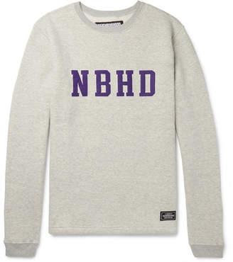 Neighborhood Logo-Appliquéd Mélange Fleece-Back Cotton-Jersey Sweatshirt