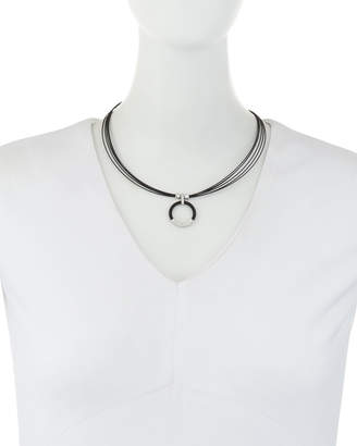 Alor Noir Steel & 18k Diamond Circle Pendant Necklace