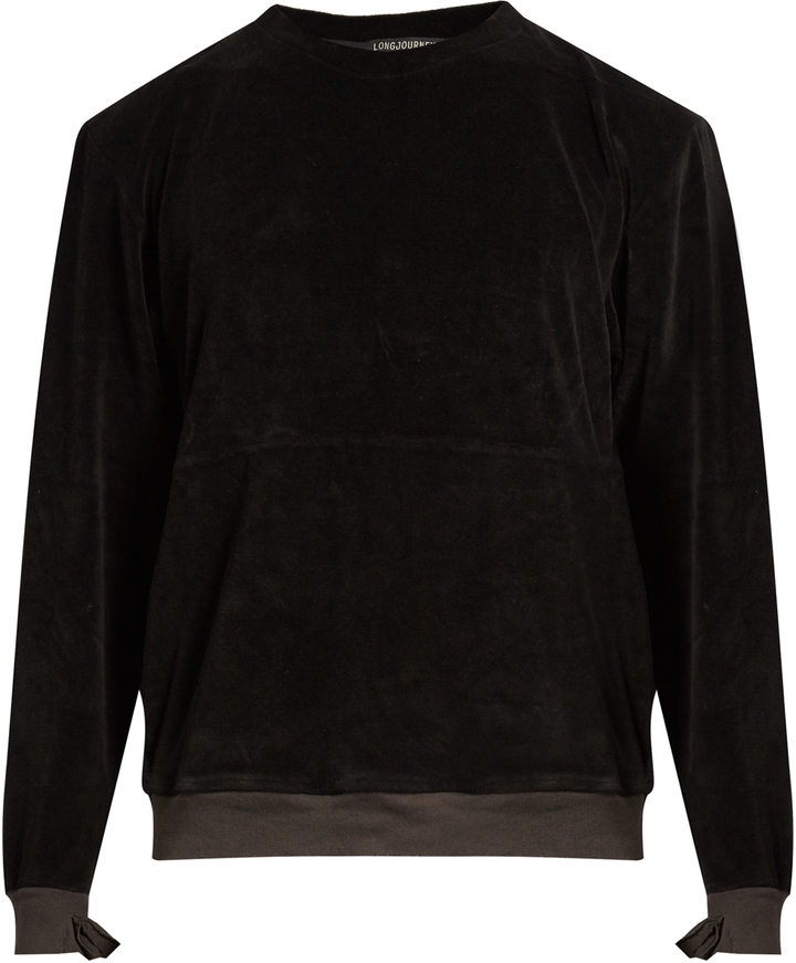 LONGJOURNEY Nash crew-neck aged cotton-velvet sweatshirt
