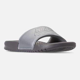 Nike Women's Benassi Just Do It Metallic Slide Sandals