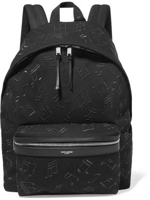 Saint Laurent City Embroidered Leather-trimmed Canvas Backpack