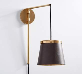 Pottery Barn The Emily & Meritt Leather Sconce, Leather/Brass