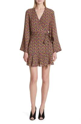A.L.C. Whitney Bell Sleeve Silk Wrap Dress