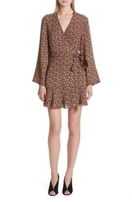 A.L.C. Whitney Bell Sleeve Silk Wrap Dress
