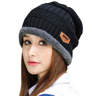 ef167a3abaa Muryobao Thick Warm Winter Beanie Hat Slouchy Skully Knit Hats Soft Stretch  Ribbed Cap for Women