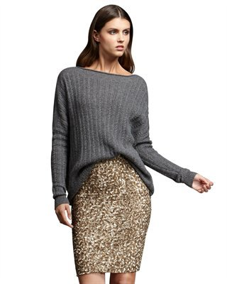 Vince Sequined Pencil Skirt