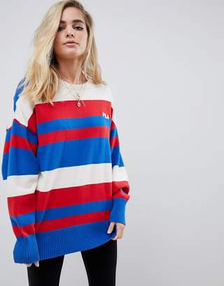 Fila oversized sweater with chest logo in stripe knit