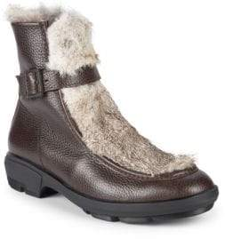 Aquatalia Marcello Embossed Rabbit Fur, Shearling & Leather Ankle Boots