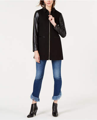 INC International Concepts I.N.C. Faux-Leather-Sleeve Jacket, Created for Macy's