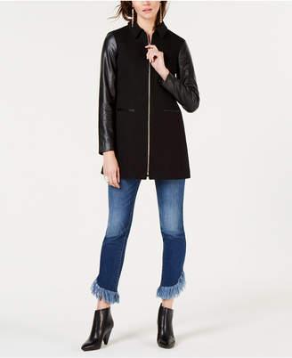INC International Concepts I.n.c. Faux-Leather-Sleeve Jacket