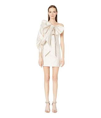 Moschino Bow Front Asymmetrical Neckline Sheath Dress