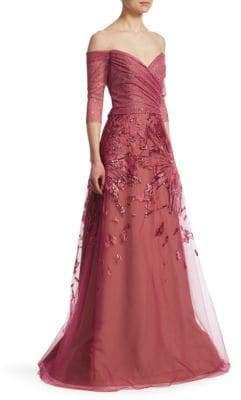 Rene Ruiz Metallic Embroidered Tulle Gown