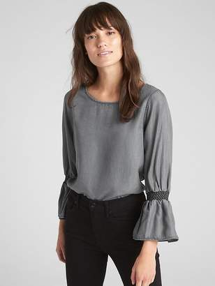 Gap Smocked Trumpet Sleeve Blouse in TENCEL