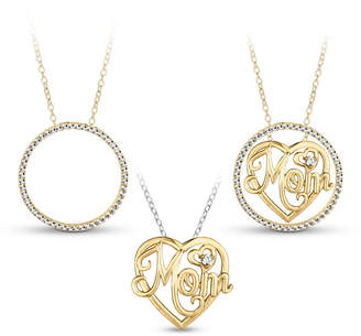FINE JEWELRY 18K Gold over Silver 3-in-1 Cubic Zirconia Circle Mom Necklace