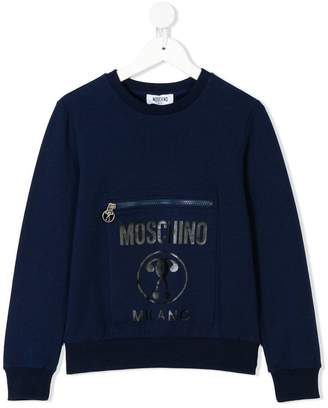 Moschino Kids logo pocket sweatshirt