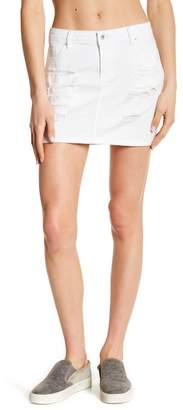 Tractr Destroyed Denim Mini Skirt