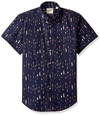 Naked & Famous Denim Men's Arrows Print Short Sleeve Button Down Shirt