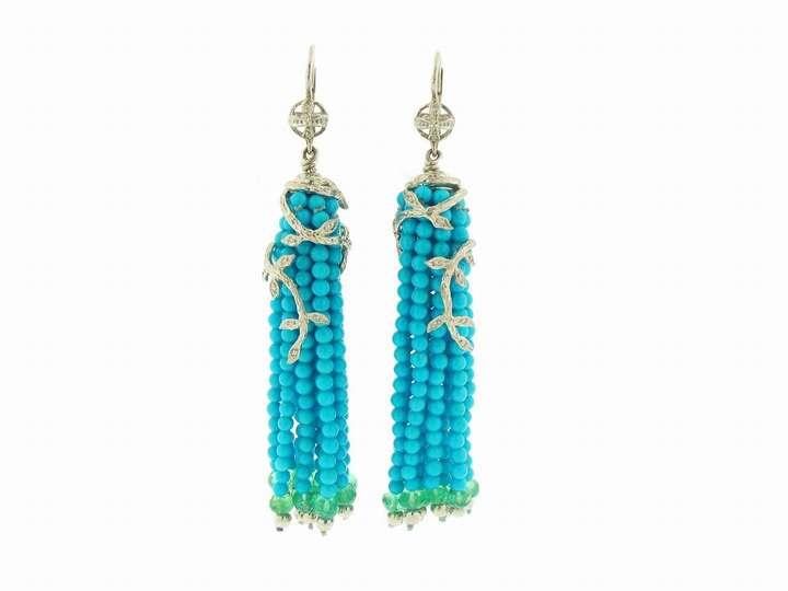 Cathy Waterman Turquoise and Emerald Tassel Earrings in Platinum