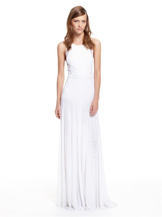 DKNY Runway Jersey Maxi Dress With Mesh Inserts And Tulle Skirt