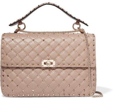 Valentino - The Rockstud Spike Large Quilted Leather Shoulder Bag - Blush