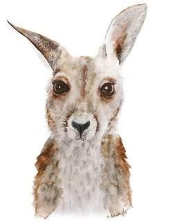 Oopsy Daisy Fine Art For Kids Kangaroo Portrait by Brett Blumenthal Paper Print
