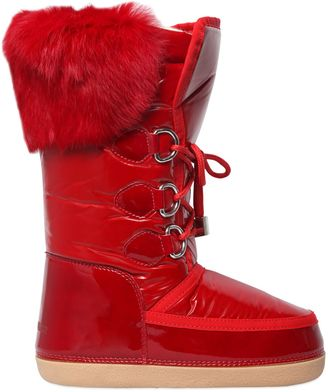 Nylon & Patent Leather Fur Snow Boots $325 thestylecure.com