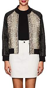 Zadig & Voltaire WOMEN'S SNAKESKIN-PATTERN COTTON-BLEND BOMBER JACKET SIZE XS