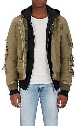 R 13 Men's Distressed Canvas Puffer Bomber Jacket