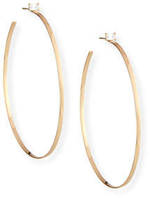 Lana 14k Gold Hoop Earrings with Emerald-Cut Diamond