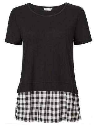 Jeanswest Gail Gingham Woven Contrast Tee
