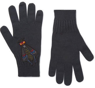 Fendi Bag Bugs Appliquéd Wool Gloves