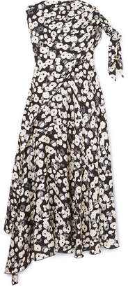 Derek Lam Floral-print Silk Crepe De Chine Midi Dress - Black