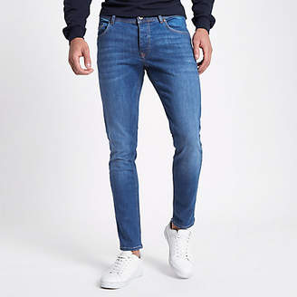 River Island Mens Mid Blue Eddy skinny fit jeans