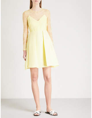 Sandro Floral lace-panel woven dress