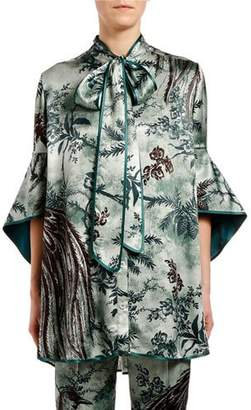 F.R.S For Restless Sleepers Paradise-Print Fluted Tie-Neck Blouse