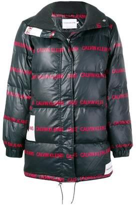 Calvin Klein Jeans logo print padded coat