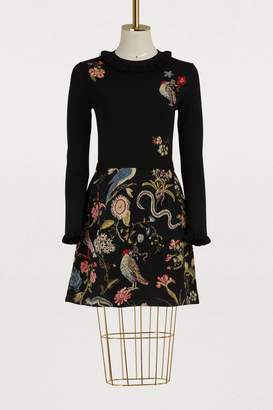 RED Valentino Printed floral dress with ruffled collar