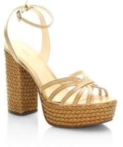 Schutz Hortenica Leather Espadrilles Sandals