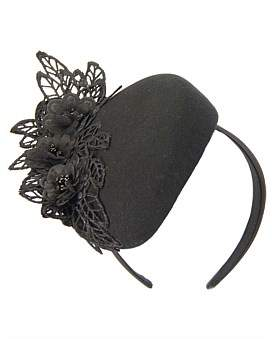 Fillies Collection Black Winter Pillbox With Black Lace
