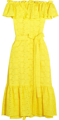 Lisa Marie Fernandez - Mira Off-the-shoulder Broderie Anglaise Cotton Midi Dress - Yellow $875 thestylecure.com