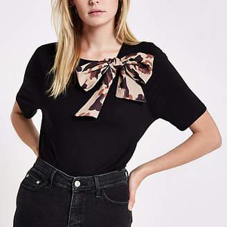 River Island Black leopard print bow detail T-shirt